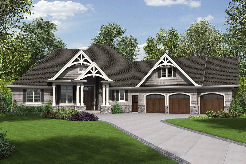 Craftsman Exterior - Front Elevation Plan #48-959