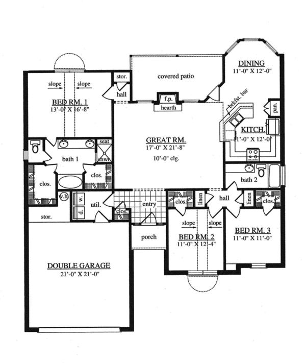Home Plan - Traditional Floor Plan - Main Floor Plan #42-724