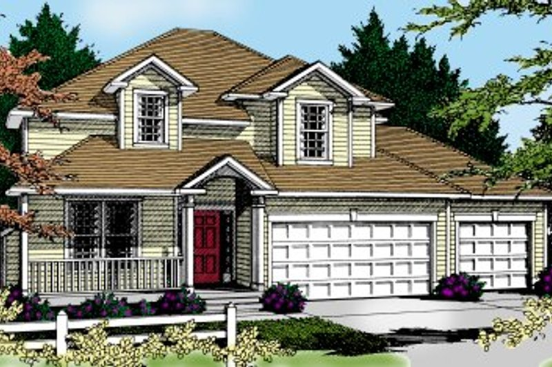 Colonial Exterior - Front Elevation Plan #97-223