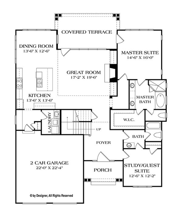 House Plan Design - Craftsman Floor Plan - Main Floor Plan #453-614