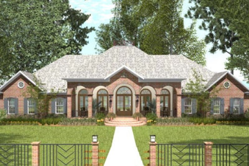 Southern Exterior - Front Elevation Plan #406-9614