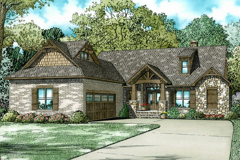European Exterior - Front Elevation Plan #17-3403