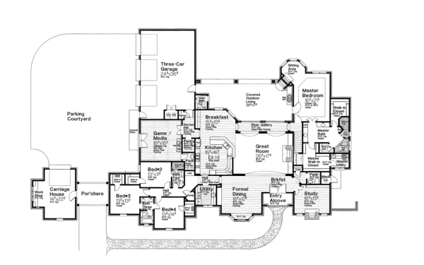 House Plan Design - European Floor Plan - Main Floor Plan #310-1260