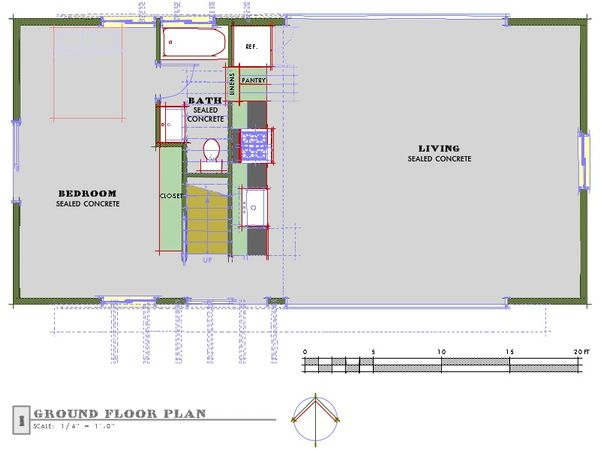Farmhouse modern designed house plan, main level floor plan