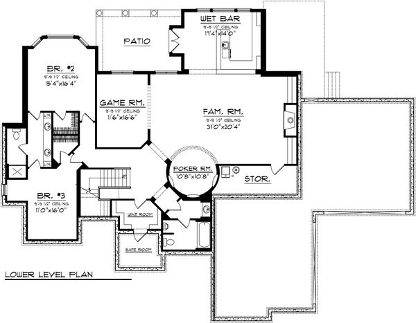 Mediterranean Floor Plan - Lower Floor Plan Plan #70-1093