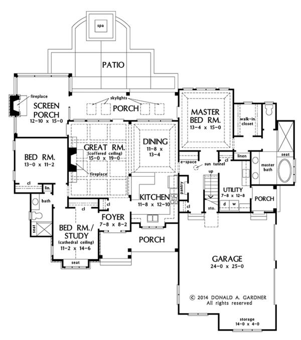 Craftsman Floor Plan - Main Floor Plan Plan #929-998