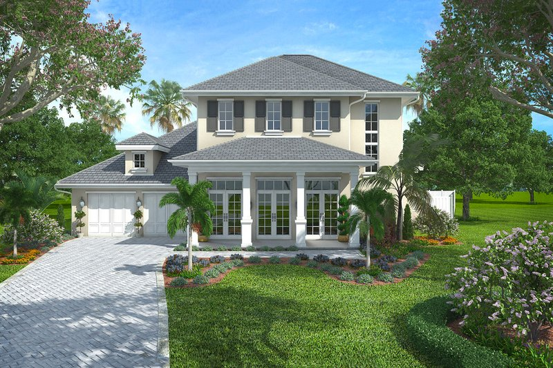 Colonial Style House Plan - 4 Beds 4.5 Baths 4902 Sq/Ft Plan #27-459 Exterior - Front Elevation