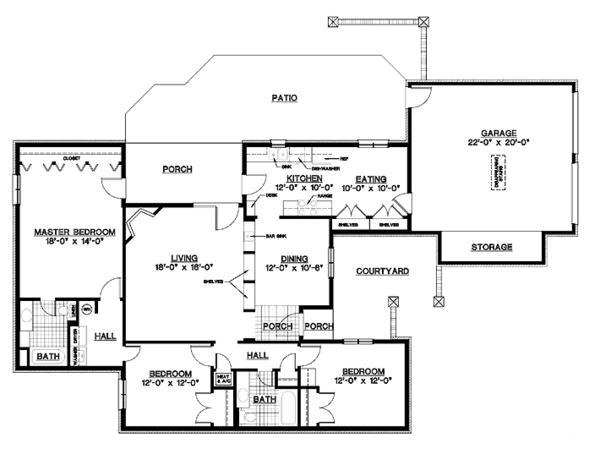 European Floor Plan - Main Floor Plan Plan #45-537