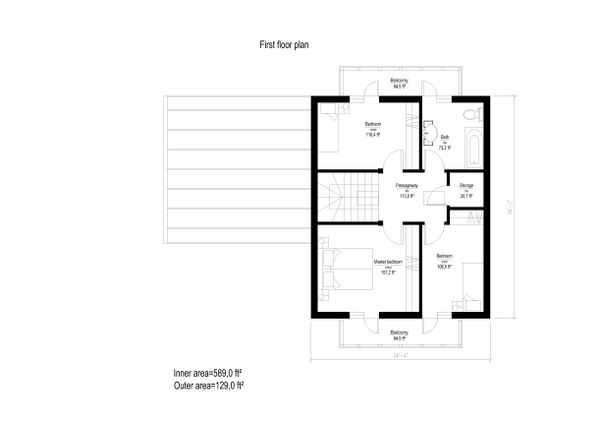 European Style House Plan - 3 Beds 1 Baths 1815 Sq/Ft Plan #549-9 Floor Plan - Upper Floor Plan