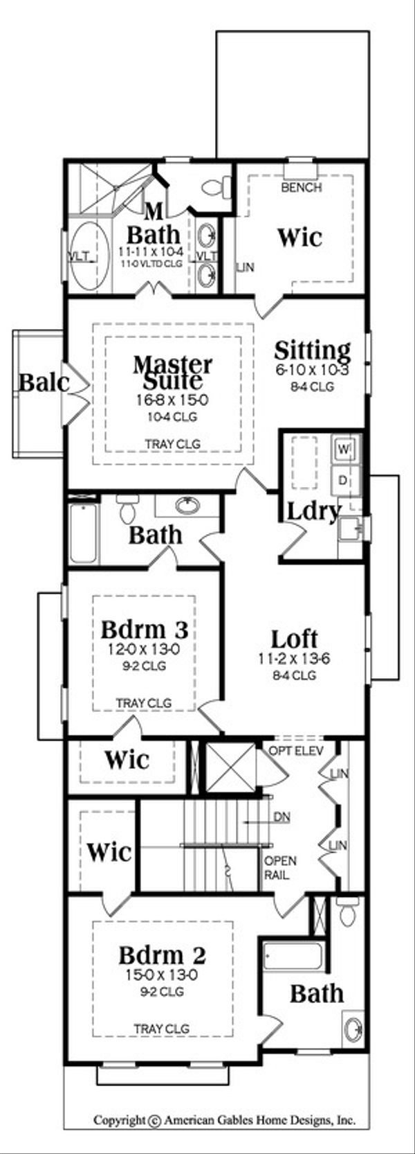 European Floor Plan - Upper Floor Plan Plan #419-283