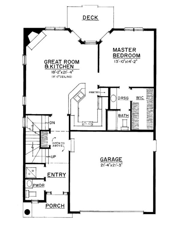Adobe / Southwestern Floor Plan - Main Floor Plan Plan #1016-111