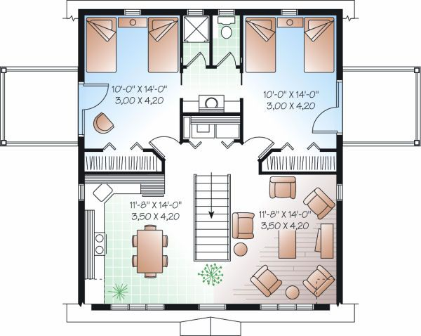 Country Floor Plan - Upper Floor Plan Plan #23-756