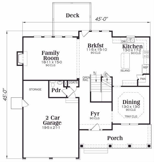 Craftsman Floor Plan - Main Floor Plan Plan #419-168