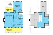 Cottage Style House Plan - 3 Beds 2 Baths 983 Sq/Ft Plan #489-5 Floor Plan - Main Floor Plan