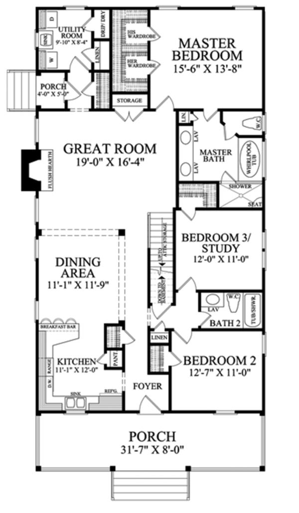 Country Floor Plan - Main Floor Plan Plan #137-370