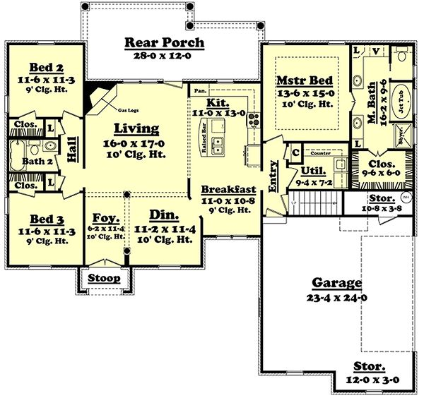European Floor Plan - Main Floor Plan Plan #430-42