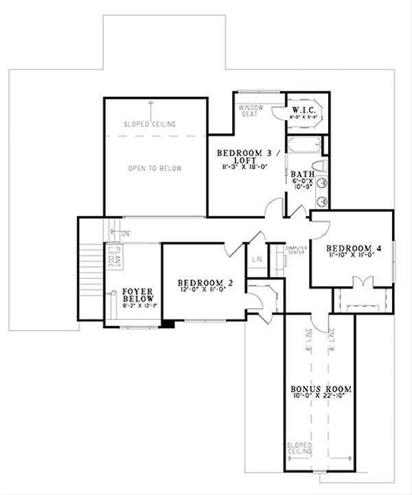Traditional Floor Plan - Upper Floor Plan Plan #17-2383