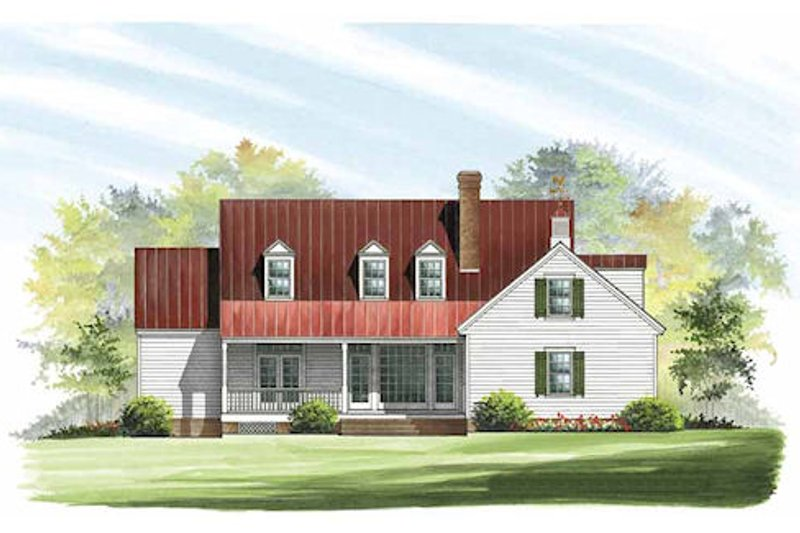 Southern Exterior - Rear Elevation Plan #137-169 - Houseplans.com