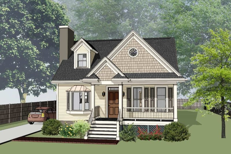 Bungalow Style House Plan - 3 Beds 2.5 Baths 1568 Sq/Ft Plan #79-314 Exterior - Front Elevation