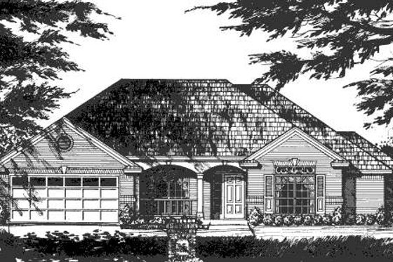 Southern Exterior - Front Elevation Plan #40-420