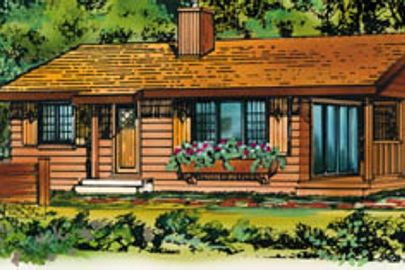 Cottage Style House Plan - 2 Beds 1 Baths 839 Sq/Ft Plan #47-486 Exterior - Front Elevation