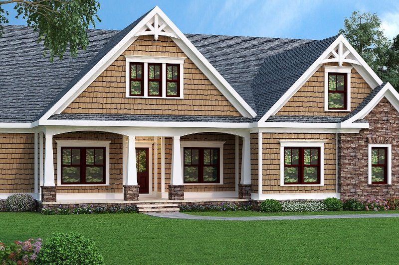 Ranch Style House Plan - 3 Beds 2 Baths 1946 Sq/Ft Plan #419-119 Exterior - Front Elevation