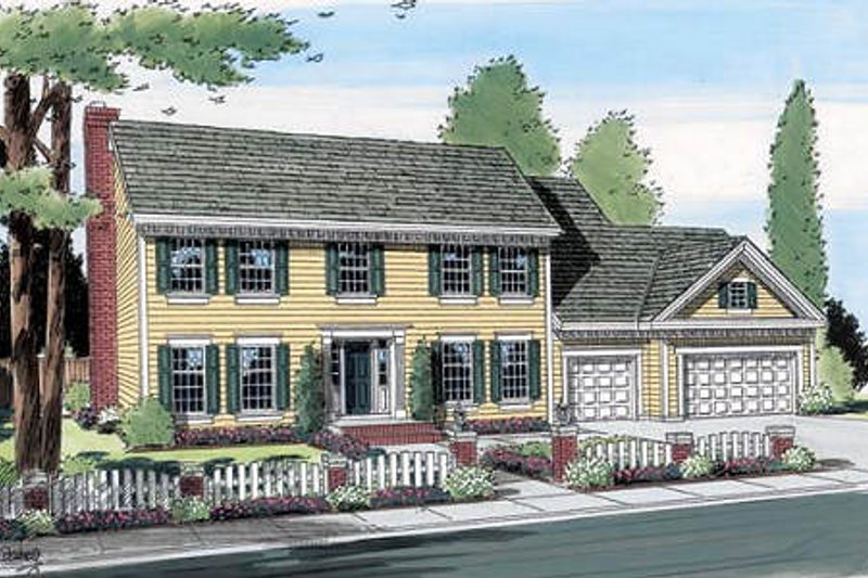 Colonial Style House Plan - 4 Beds 2.5 Baths 2920 Sq/Ft Plan #312-565 Exterior - Front Elevation