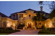 Mediterranean Style House Plan - 6 Beds 5 Baths 6568 Sq/Ft Plan #135-202 Exterior - Front Elevation