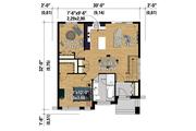 Contemporary Style House Plan - 2 Beds 1 Baths 911 Sq/Ft Plan #25-4372 Floor Plan - Main Floor Plan