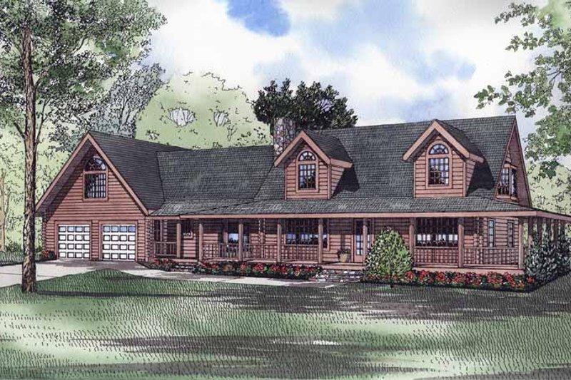 Log Exterior - Front Elevation Plan #17-2959