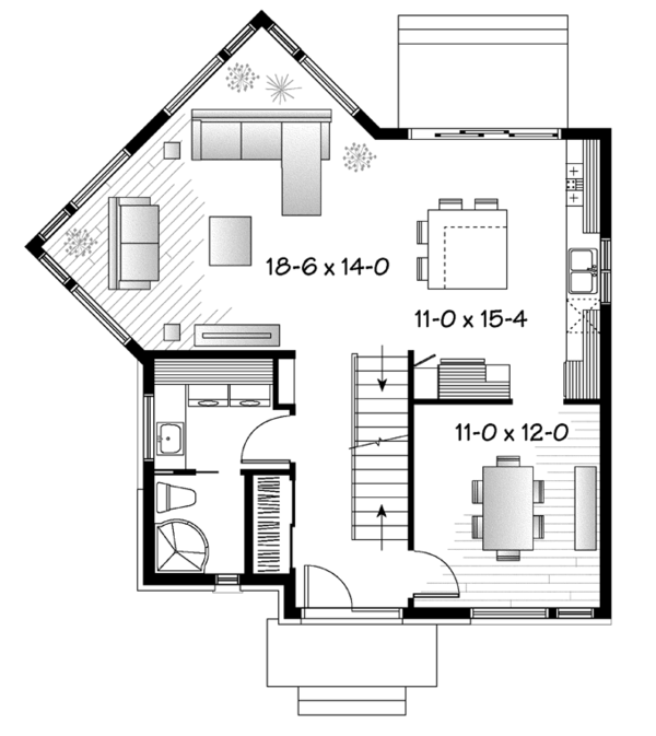 Contemporary Floor Plan - Main Floor Plan Plan #23-2587