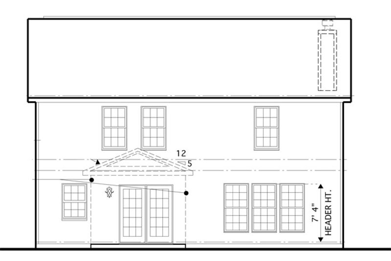 Traditional Exterior - Rear Elevation Plan #1053-50 - Houseplans.com