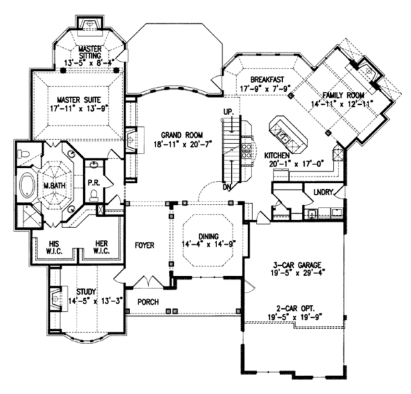 Country Floor Plan - Main Floor Plan Plan #54-377