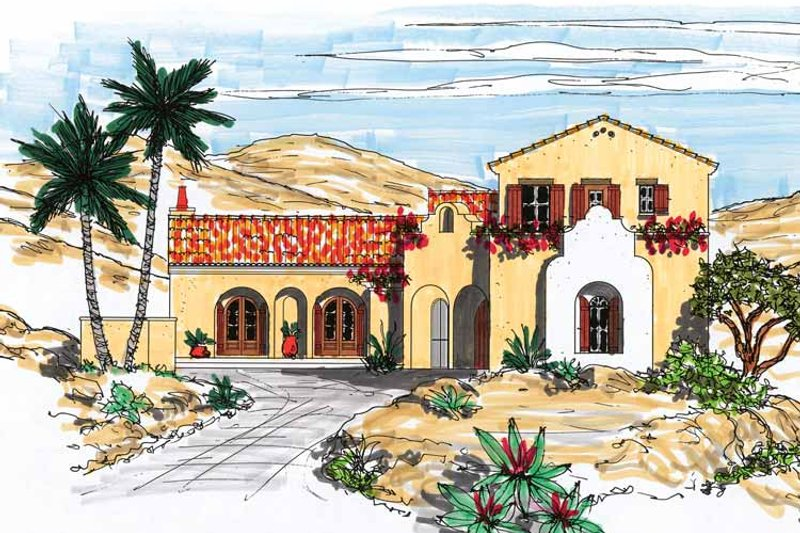 Mediterranean Exterior - Front Elevation Plan #76-122 - Houseplans.com