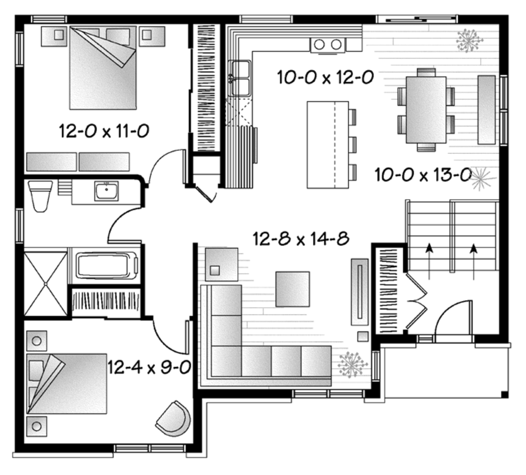 Contemporary style house plan 2 beds 1 baths 1040 sq ft for 1040 square foot house plans