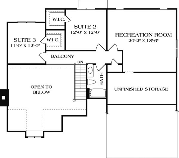 Craftsman Floor Plan - Upper Floor Plan Plan #453-10