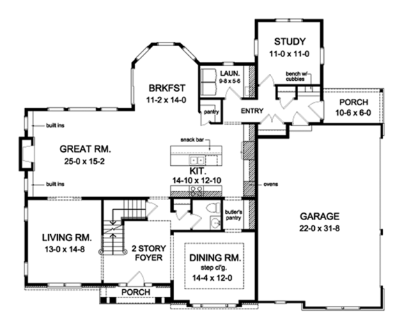 Colonial Floor Plan - Main Floor Plan Plan #1010-174