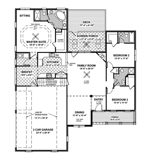 Country Floor Plan - Main Floor Plan Plan #56-695