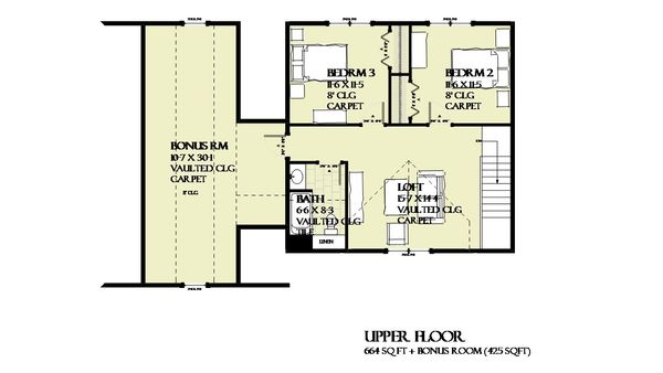 Farmhouse Floor Plan - Upper Floor Plan #901-132
