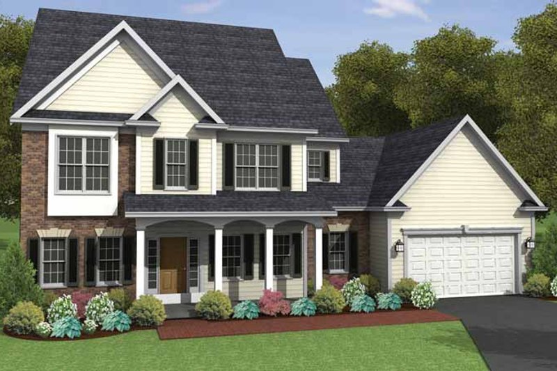 Colonial Exterior - Front Elevation Plan #1010-18