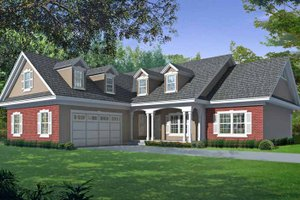 Architectural House Design - Country Exterior - Front Elevation Plan #1037-34