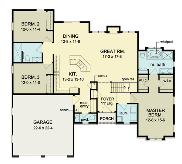 Ranch Floor Plan - Main Floor Plan Plan #1010-32