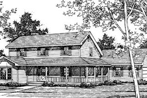 Country Exterior - Front Elevation Plan #10-245