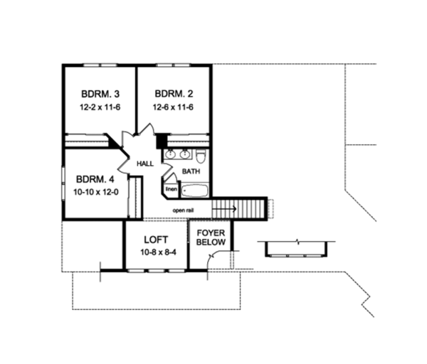 Craftsman Floor Plan - Upper Floor Plan Plan #1010-110