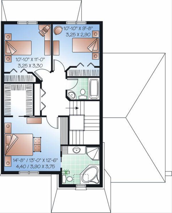 European Floor Plan - Upper Floor Plan #23-818