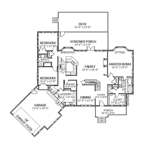Craftsman Floor Plan - Main Floor Plan Plan #898-36