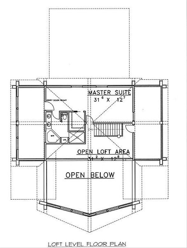 Log Floor Plan - Upper Floor Plan #117-504