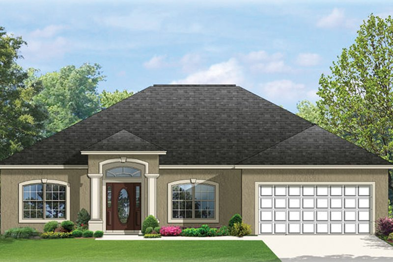 Mediterranean Exterior - Front Elevation Plan #1058-76 - Houseplans.com