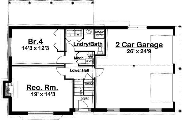 Colonial Floor Plan - Lower Floor Plan Plan #126-214