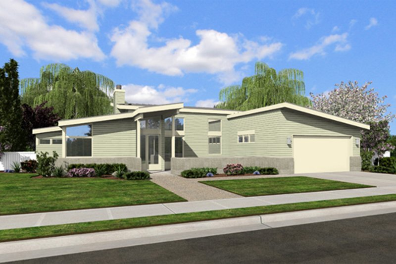 Modern Style House Plan - 2 Beds 2 Baths 1508 Sq/Ft Plan #48-460 Exterior - Front Elevation